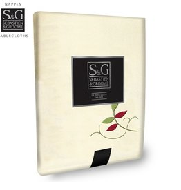 Sebastien & Groome S&G Tablecloth Embroidered Leaves 60x90, Ivory