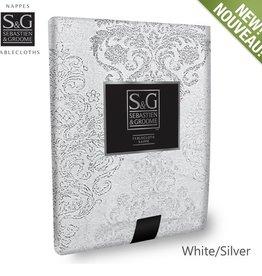 Myles International S&G Tablecloth Winter Damask 54x70 -Winter White/Silver