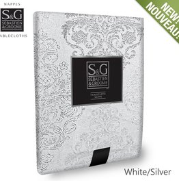 Myles International S&G Tablecloth Winter Damask 60x84 -Winter White/Silver
