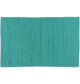 Stitch & Shuttle Solid Chindi Rug, Turquoise, 2'x3'