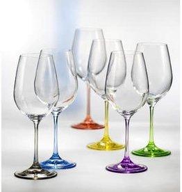 David Shaw Tableware Bohemia Rainbow Wine Glasses S/6
