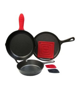 Lodge Cast Iron 6pc Set - 2 Skillets, Crepe Pan, Handle Mitt, Pot Holder, Scraper Combo Pack