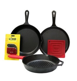 "Lodge Cast Iron 6pc Set - 10.25"" Skillet, 10.25"" Grill Pan, 10.5"" Griddle, Handle Mitt, Pot Holder, Scraper Combo Pack"
