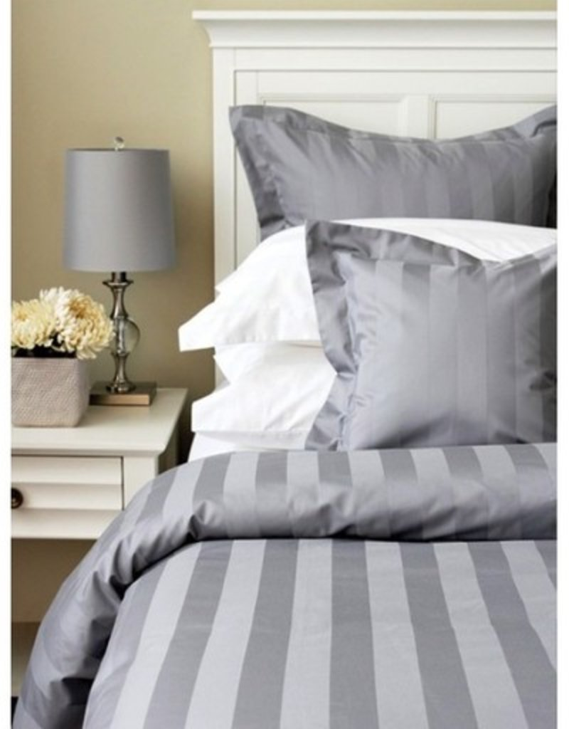 Cuddle-Down Tuxedo Stripe Lt. Grey King Flat Sheet
