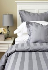 Cuddle-Down Tuxedo Stripe Lt Grey Queen Flat Sheet