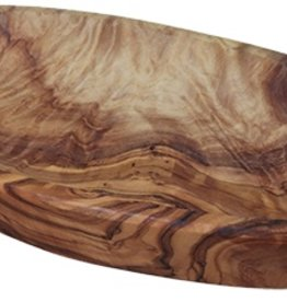 Le Souk Ceramique Olive Wood Oval Tray, Large, 5x8""