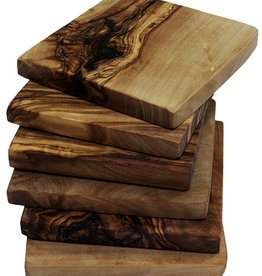 "Le Souk Ceramique Olive Wood Square Coasters, 4"", Set/6"