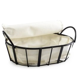 Natural Living Metal Bread Basket with Cloth Liner