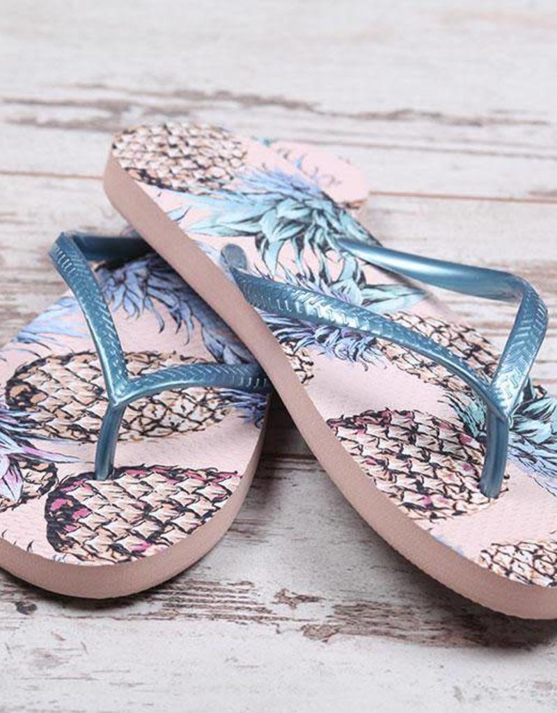 Pink Pineapple Flip Flops