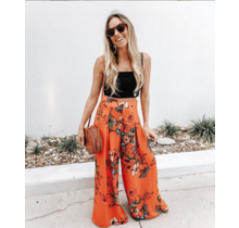 Red Floral Wide Leg