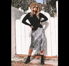 Rue Snakeskin Print Skirt