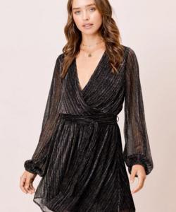 Natalia Metallic Wrap Dress
