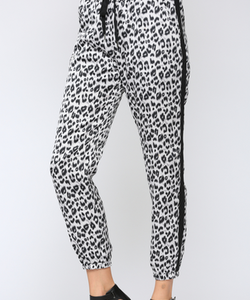 Grey Leopard Joggers