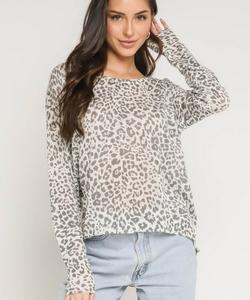 Zipper Back Leopard Sweater
