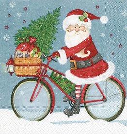 Old Country Design Santa on Bike Serviettes, Lunch