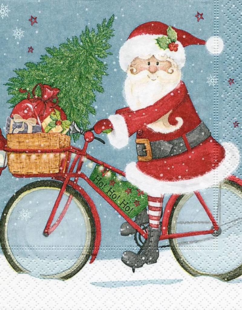 Old Country Design Santa on Bike Serviettes, Lunch