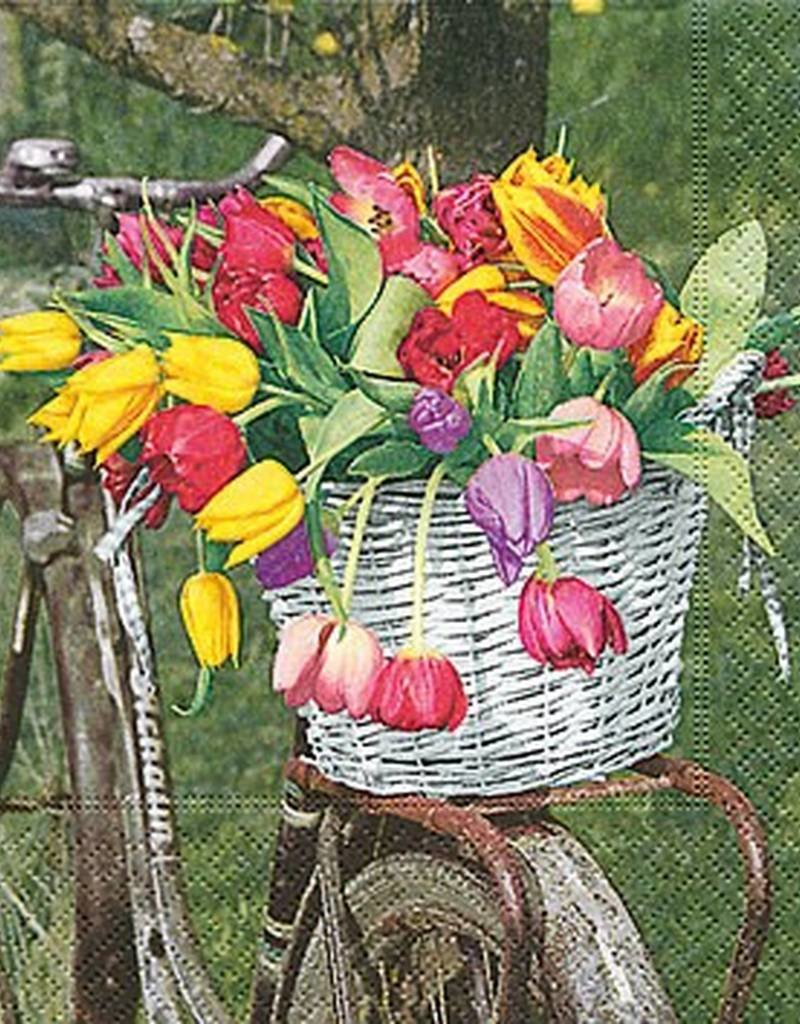 Old Country Design Tulip Basket Luncheon Serviette