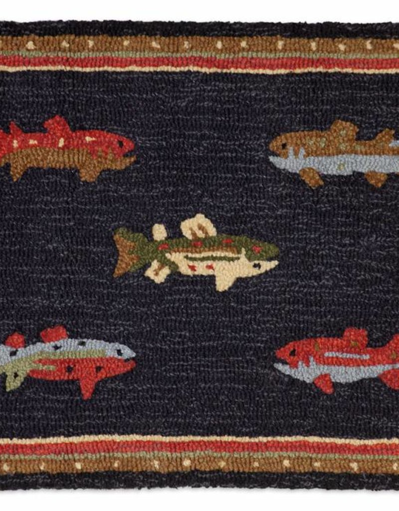 Chandler Four Corners River Fish 2x3 Hooked Rug