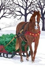 Paper Products Design Winter Horse Sleigh Beverage Napkin