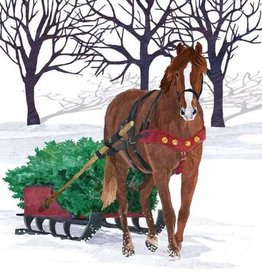 Paper Products Design Winter Horse Sleigh Beverage Napkin
