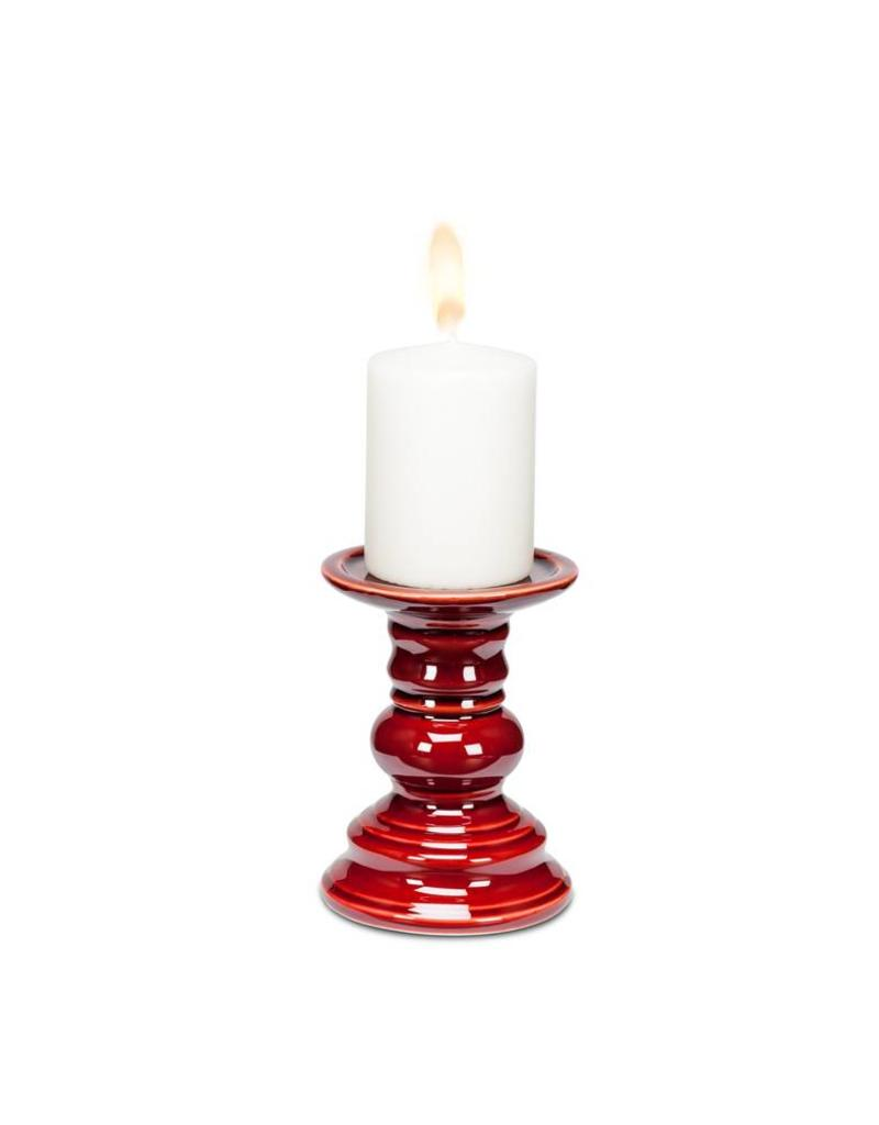 Abbott Small Dark Red Pillar Candle Holder 6""