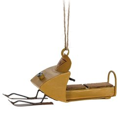 Abbott Yellow Snowmobile Ornament