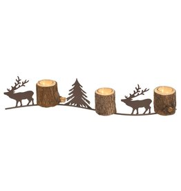 Candym 3 Cup Wood/Metal Deer Votive Holder