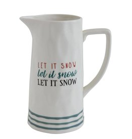 Creative Co-op Let It Snow Pitcher