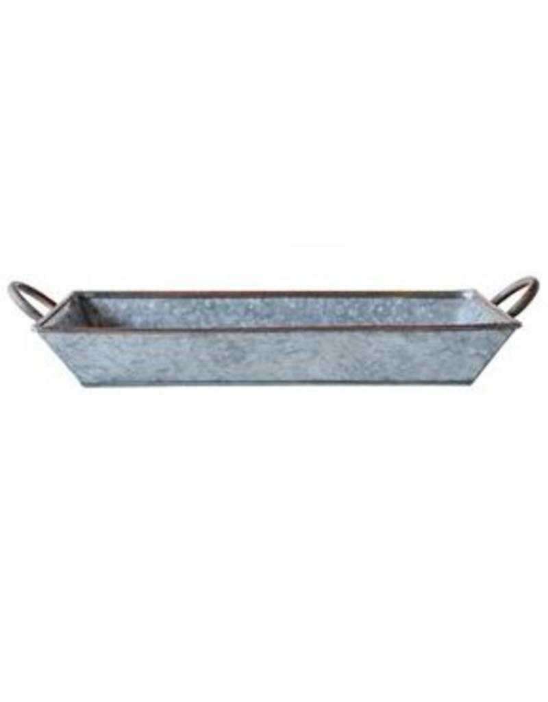 Creative Co-op Galvanized and Copper Trim Tray