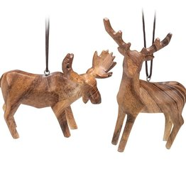 Abbott Wood Look Moose & Deer Ornament