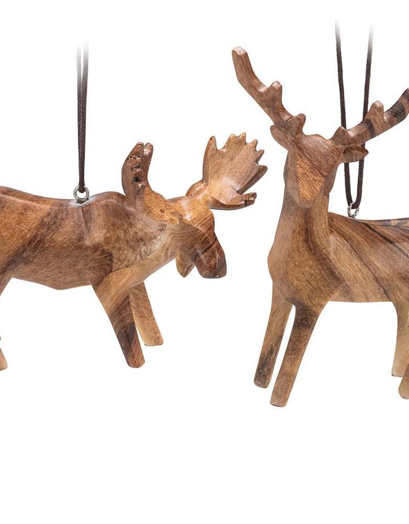 ABB Wood Look Moose & Deer Ornament