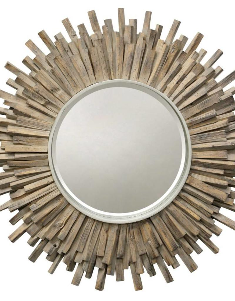 Style Craft Home Collection Starburst Mirror, Washed Wood