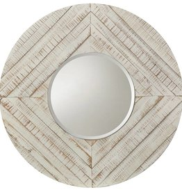 Style Craft Home Collection White Washed Round Mirror