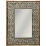 Embossed Metal and Wood Mirror