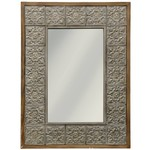 Style Craft Home Collection Embossed Metal and Wood Mirror