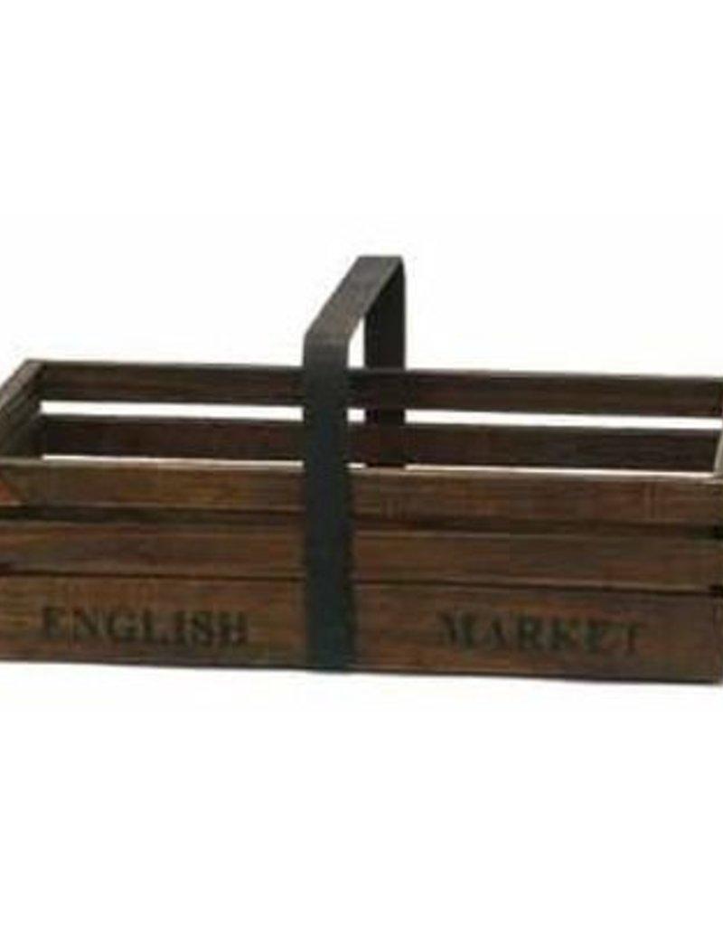 Bacon Basketware Wood & Iron Handle Basket