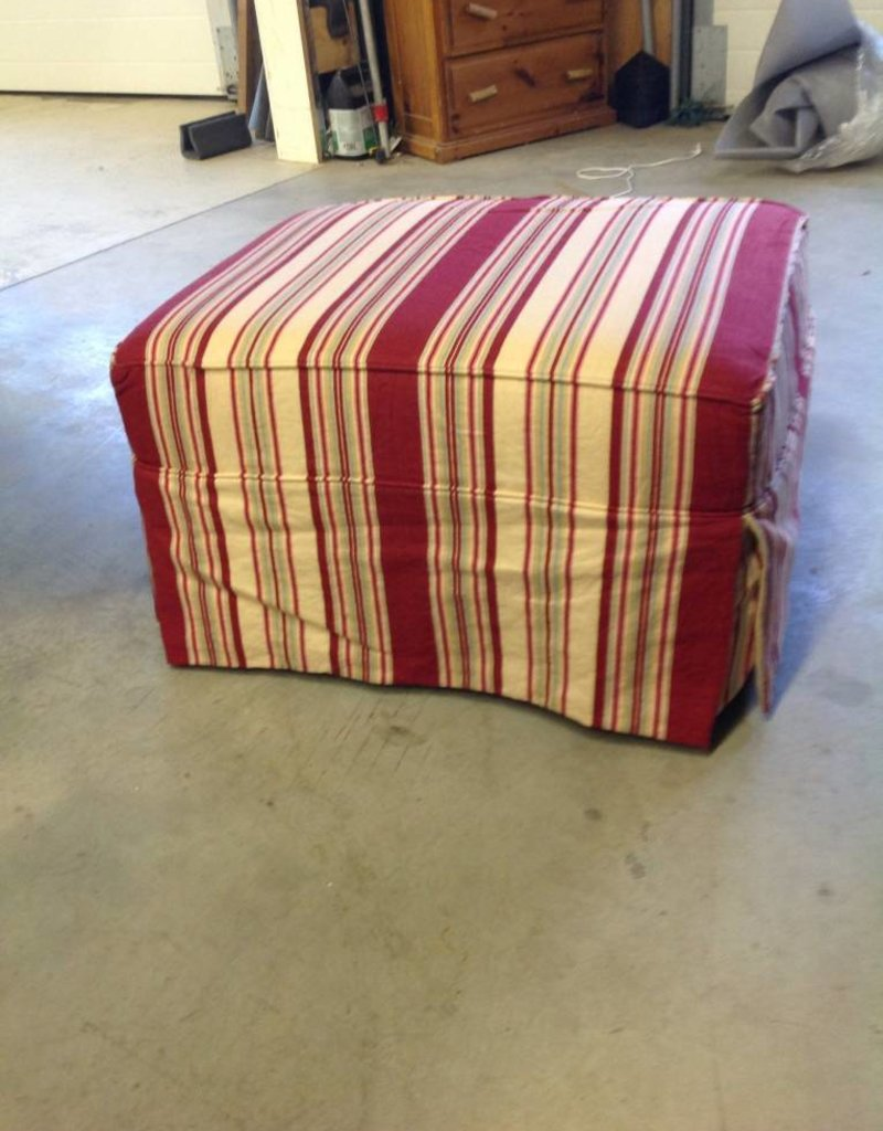 Lee Industries Stripe Ottoman Bess Crimson