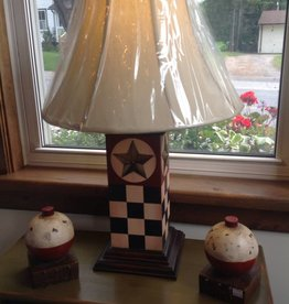 Checkered dark navy blue lamp