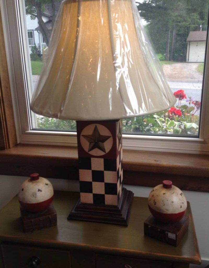 Checkered dark navy blue lamp