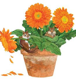 Paper Products Design Flower Pot Chipmunks Serviettes