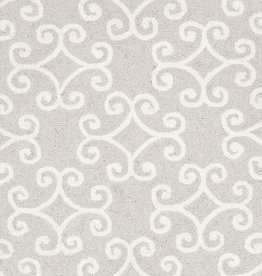 Dash & Albert Scroll Platinum Wool Micro Hooked Rug 2x3