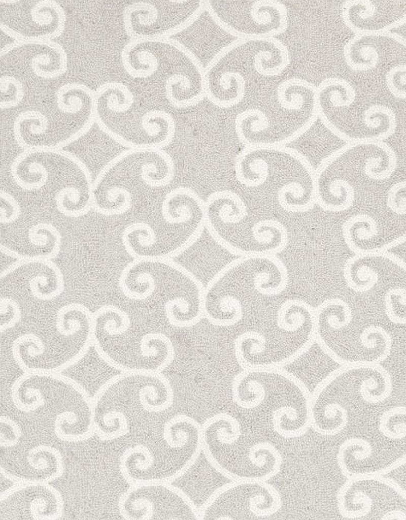 Dash & Albert Scroll Platinum Wool Micro Hooked Rug 2x3