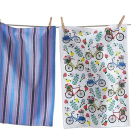 Tag ltd Dishtowel Set of 2 - Flowers & Bikes