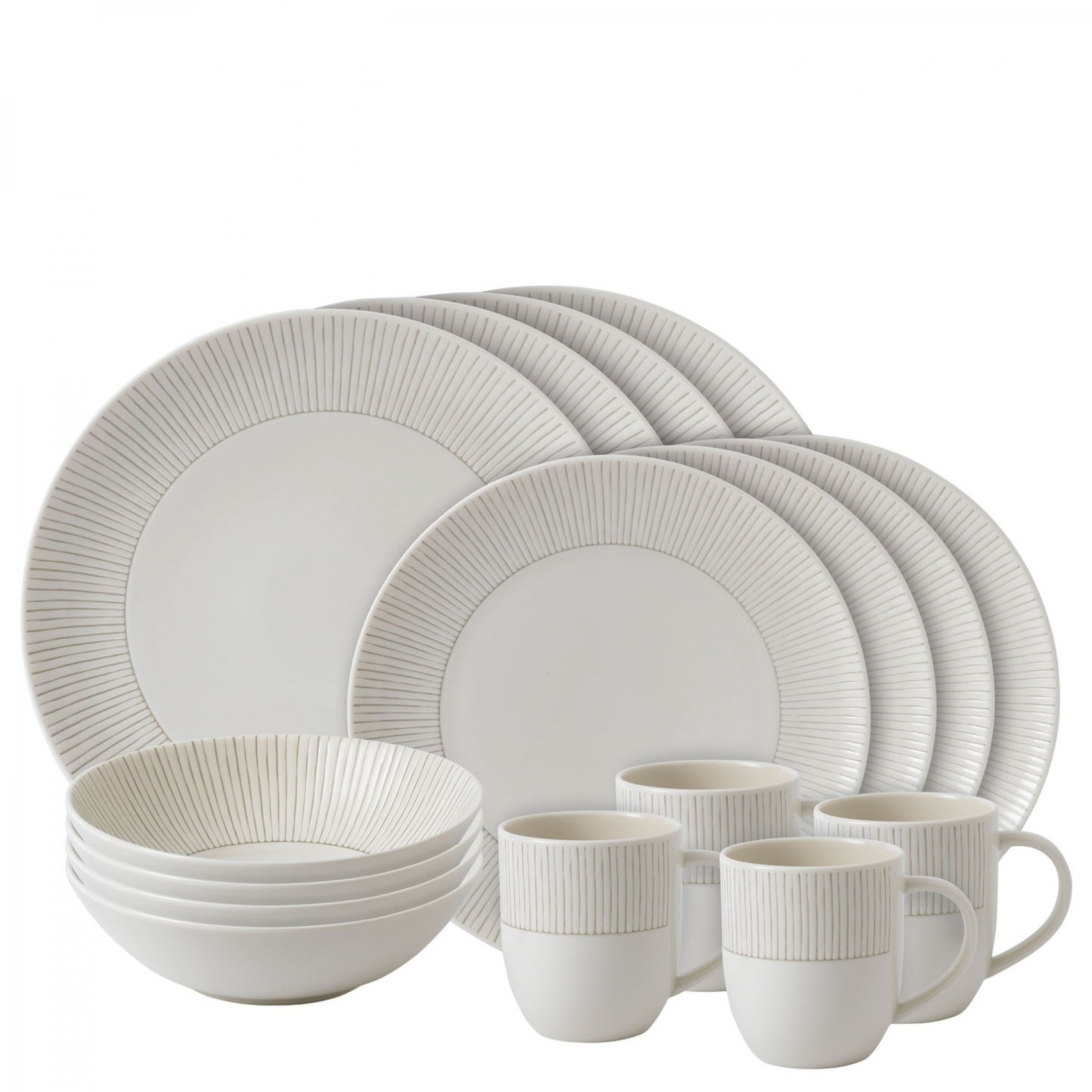 Taupe Stripe Dish Set
