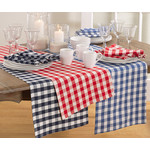 Saro Trading Company Gingham Runner - Red
