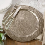 Saro Trading Company Hammered Charger - Silver