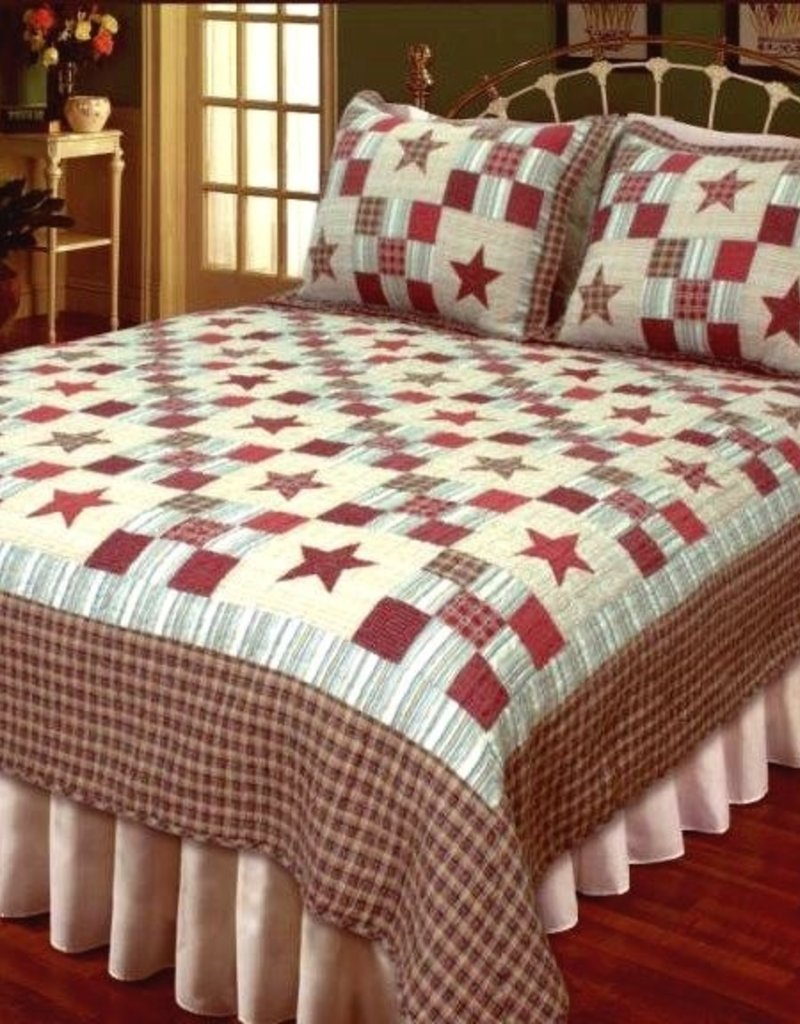 New New Horizons Country Red Star Quilt/Shams, King