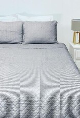 New New Horizons Blue Ticking Quilt Set - Queen