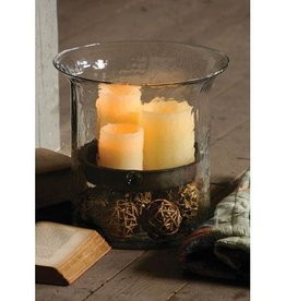 Kalalou Ribbed Glass Hurricane with Rustic Insert