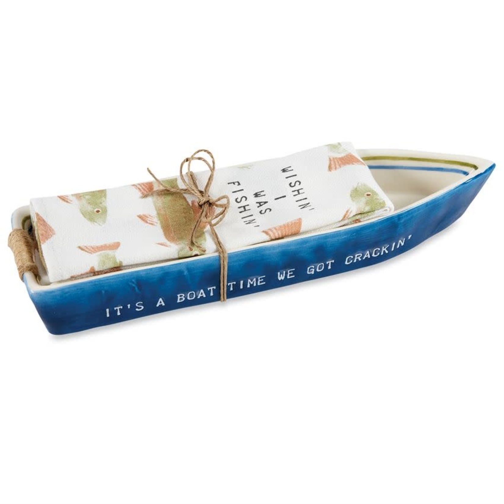 Navy Boat Dish & Towel Set